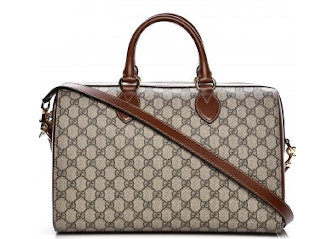 a5562541c0d Gucci Boston Bag Top Handle GG Supreme Monogram Medium Brown Beige. GG  Supreme Monogram Medium Brown Beige