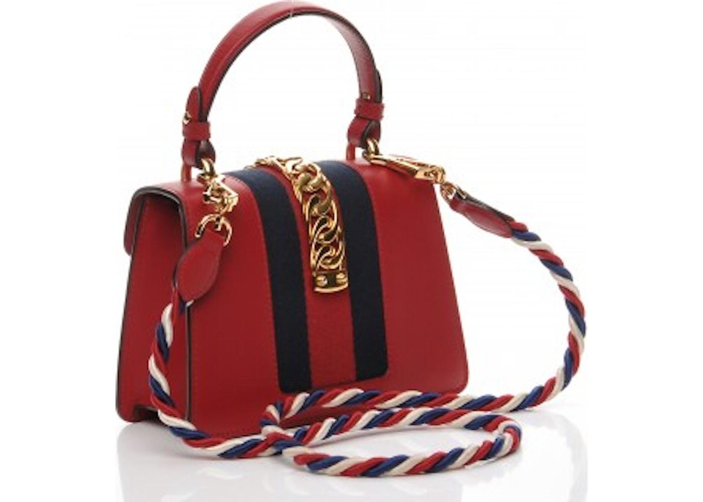 3ca867d849a9 Gucci Sylvie Top Handle GG Web Stripe Mini Red/Navy Blue