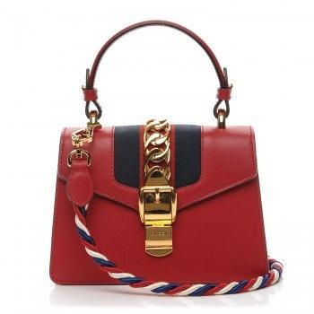 Gucci Sylvie Top Handle GG Web Stripe Mini Red/Navy Blue