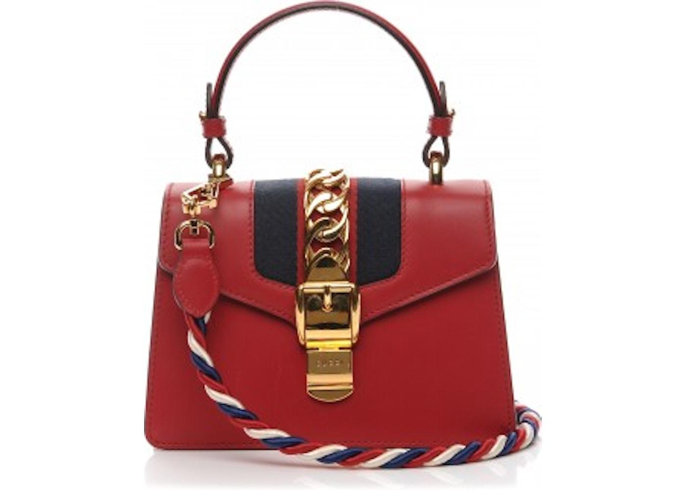 0eb5fe357eae Gucci Sylvie Top Handle GG Web Stripe Mini Red/Navy Blue. GG Web Stripe  Mini Red/Navy Blue