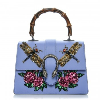 Gucci Dionysus Bamboo Top Handle GG Embroidered Dragonflies and Roses Medium Light Blue