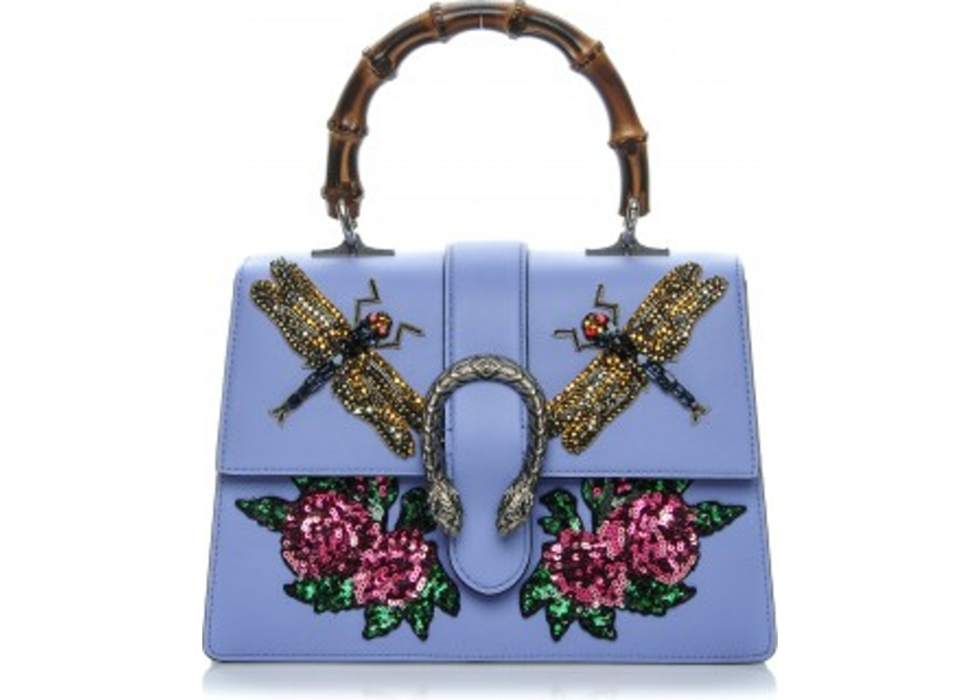25b572b485c Gucci Dionysus Bamboo Top Handle GG Embroidered Dragonflies ...