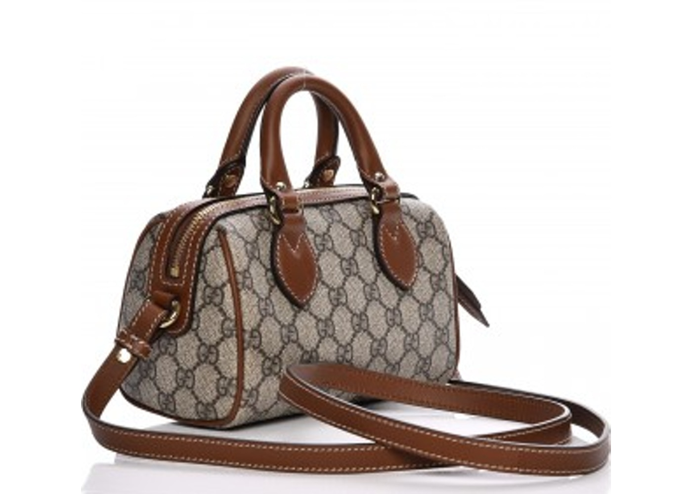 827c2d2e391b13 Gucci Boston Bag Top Handle GG Supreme Monogram Mini Brown/Cognac