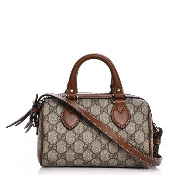 Gucci Boston Bag Top Handle GG Supreme Monogram Mini Brown/Cognac