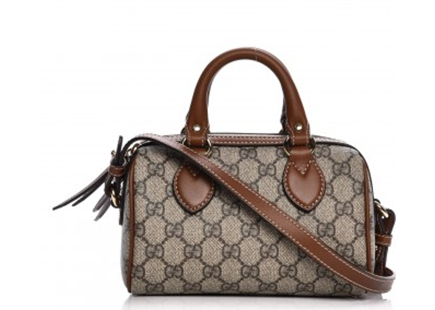 d3166477a14029 Gucci Boston Bag Top Handle GG Supreme Monogram Mini Brown ...