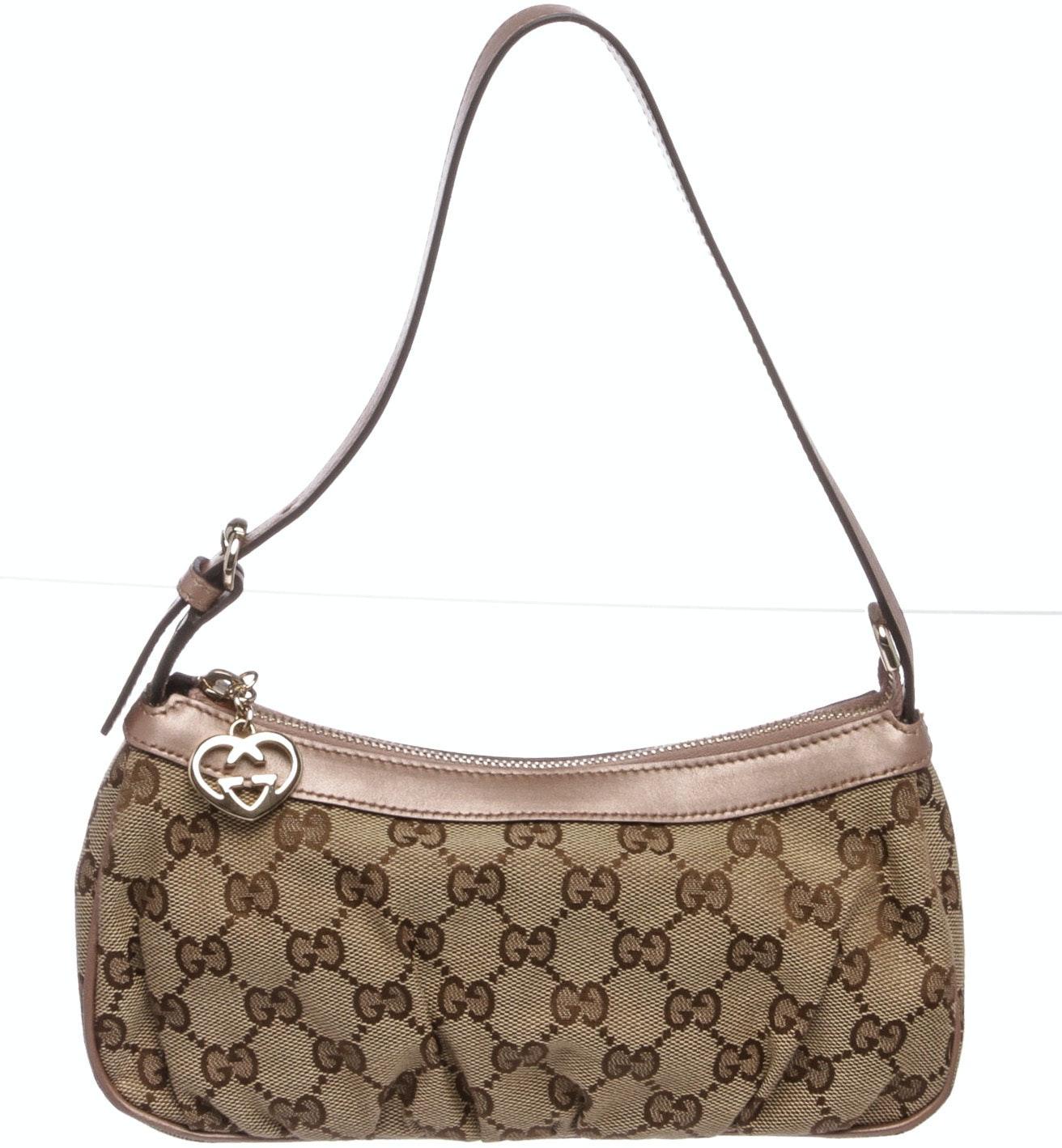 Gucci Interlock G Heart Top Handle Monogram GG Light Pink Leather Trim Beige