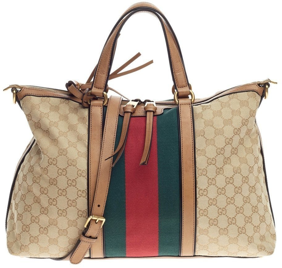 Gucci Rania Convertible Top Handle Monogram GG Web Medium Brown