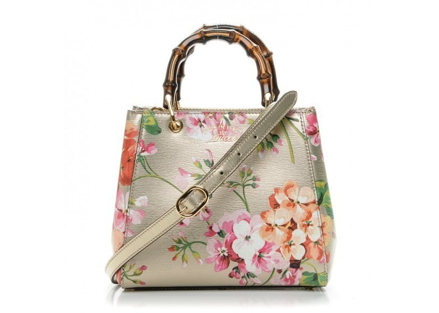 c3a78c1eefd Gucci Bamboo Shopper Blooms Print Tote Flora Mini Gold