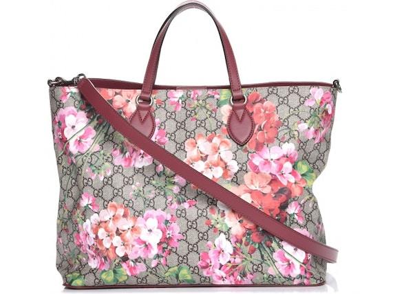 a07c52bc6 Gucci Convertible Tote Blooms GG Supreme Pink/Green/Orange/Beige