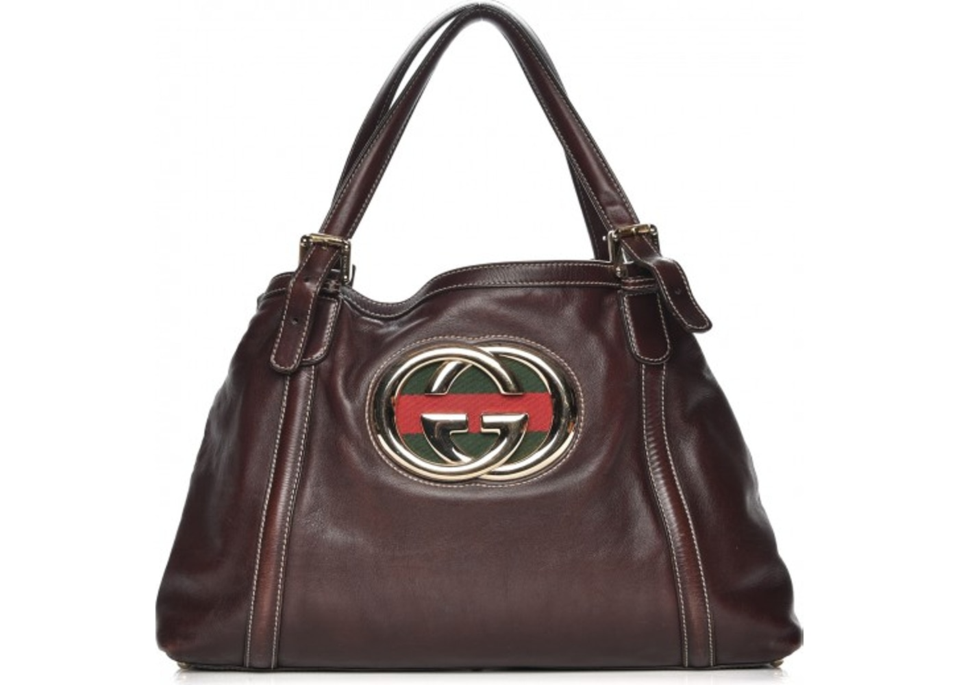 dac2543a7 Gucci Britt Tote Web Medium Dark Brown. Web Medium Dark Brown