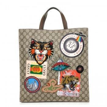 Gucci Courrier Tote GG Supreme Monogram Embroidered Brown/Dark Brown
