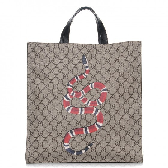 Gucci Kingsnake Tote Monogram GG Black/Taupe/Red/White
