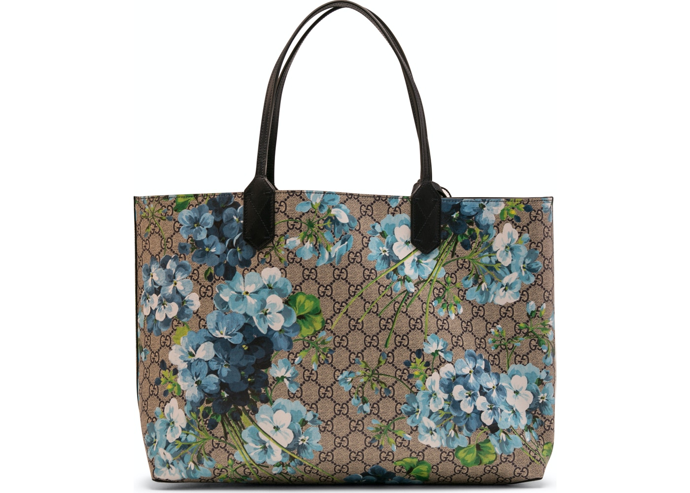 1bf47f54d20 Gucci Reversible Tote GG Blooms Medium Beige Blue