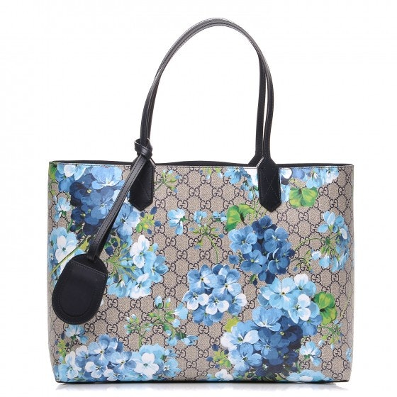 Gucci Reversible Tote GG Blooms Medium Beige/Blue