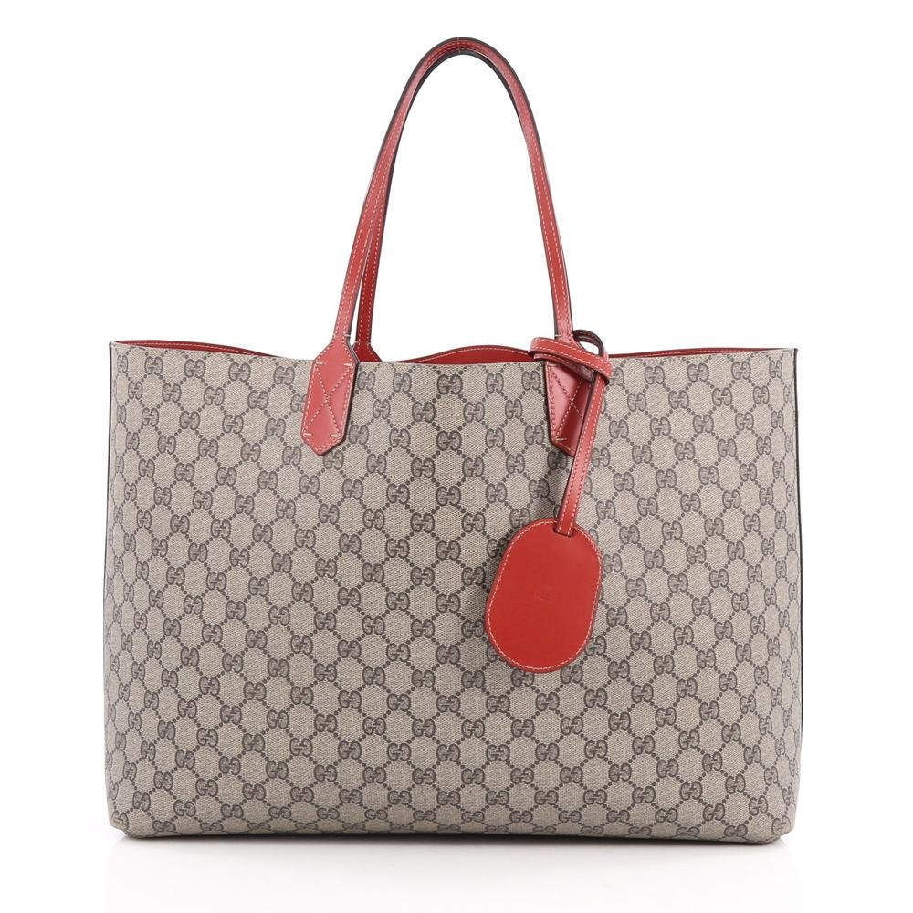 Gucci Reversible Tote GG Gucci Logo Embossing Medium Red/Beige
