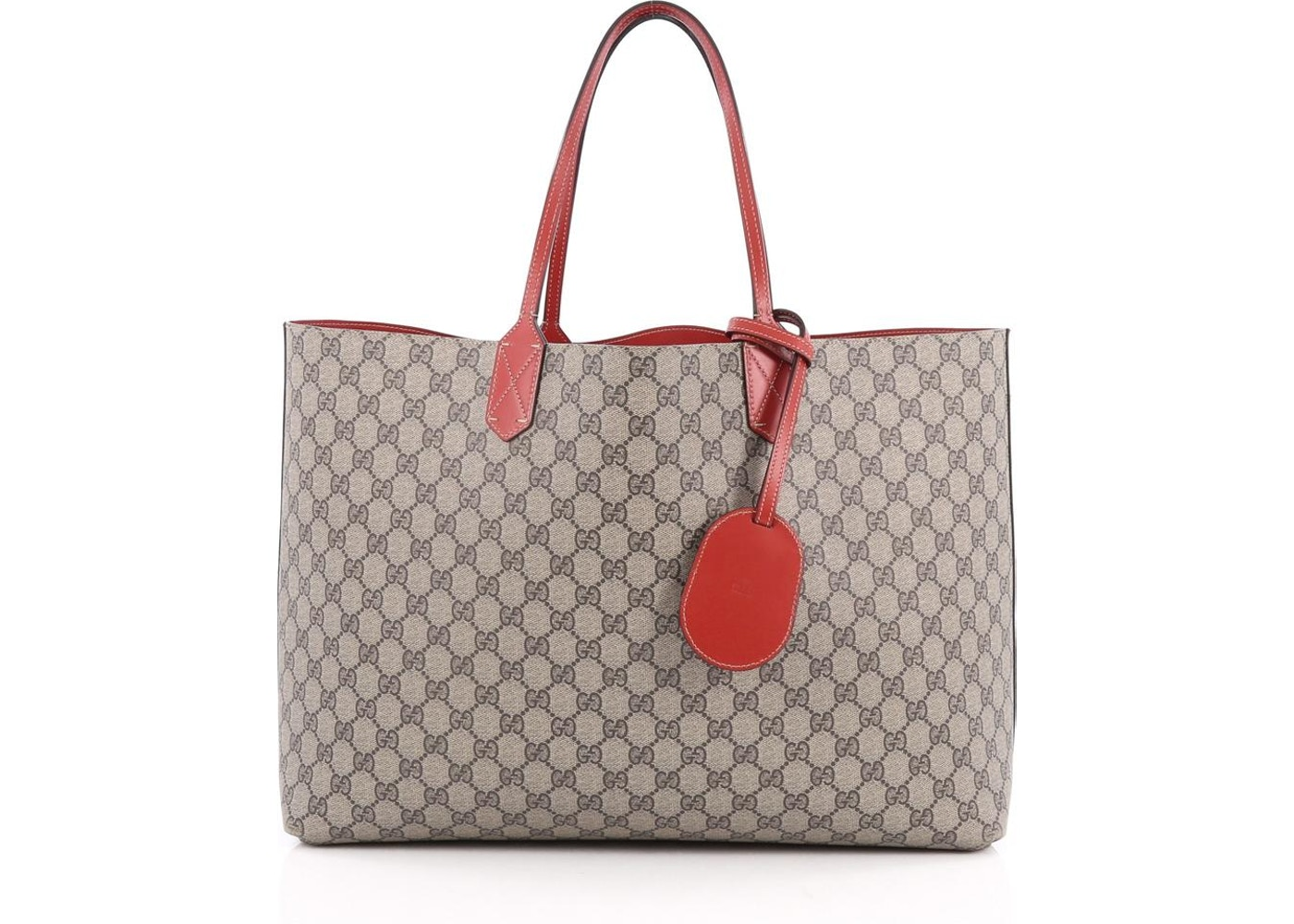ff6db648a Gucci Reversible Tote GG Gucci Logo Embossing Medium Red/Beige