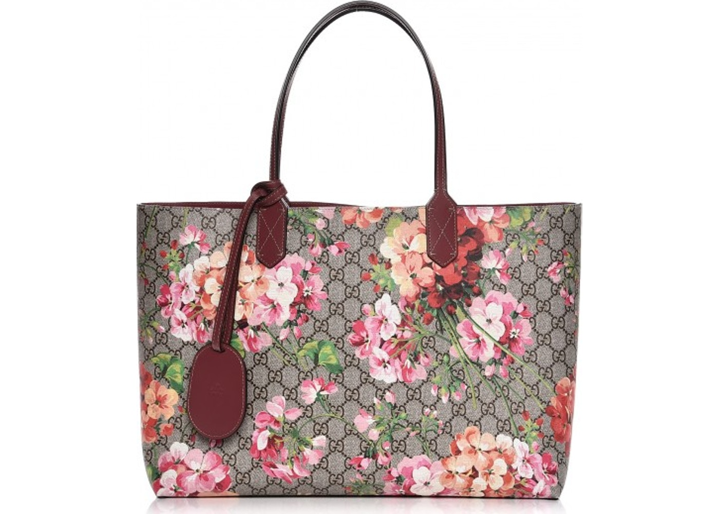 681758299 Gucci Reversible Tote Blooms GG Medium Pink/Green/Brown/Beige