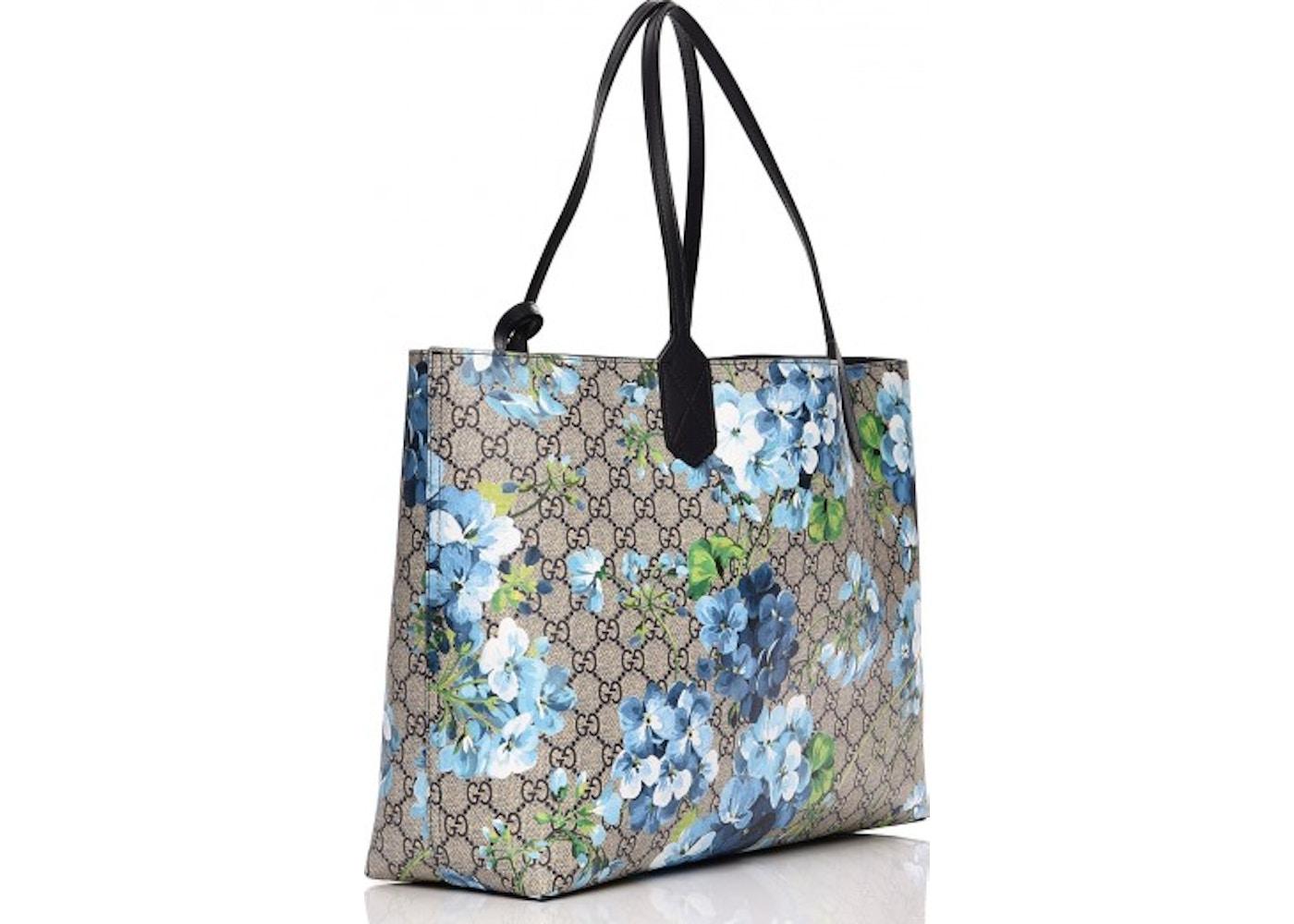 ee80272395f Gucci Reversible Tote Monogram GG Supreme Blooms Medium Beige Blue