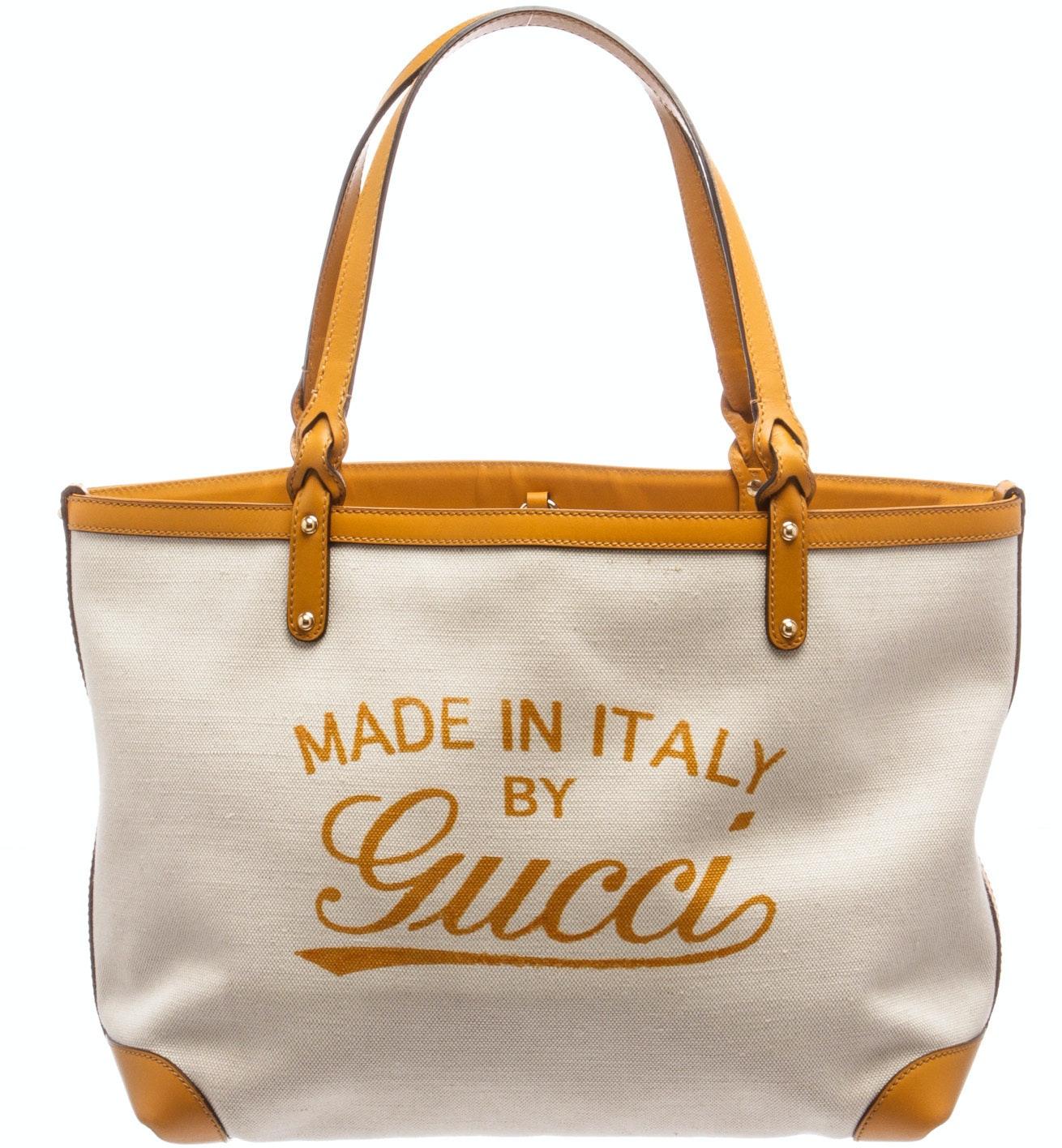 Gucci Tote Script Logo Beige/Yellow