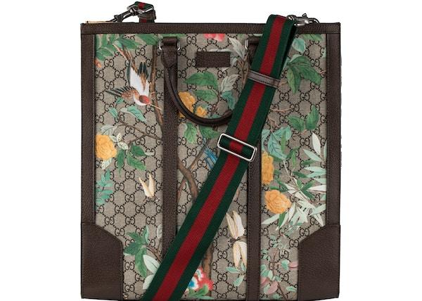9fd47efa8303 TOP. Gucci Convertible Tote Monogram GG Tian Print Brown Beige Green Red