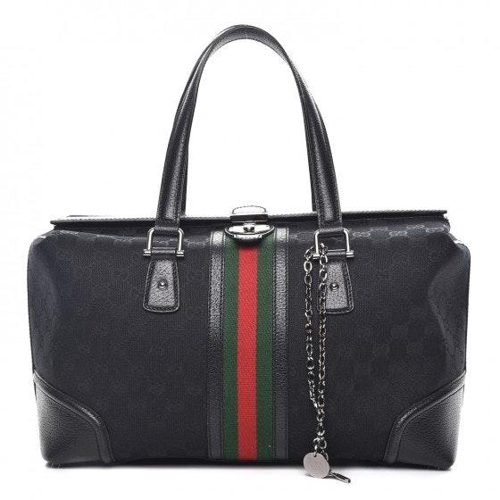 Gucci Treasure Boston Bag Satchel GG Vintage Web Large Black