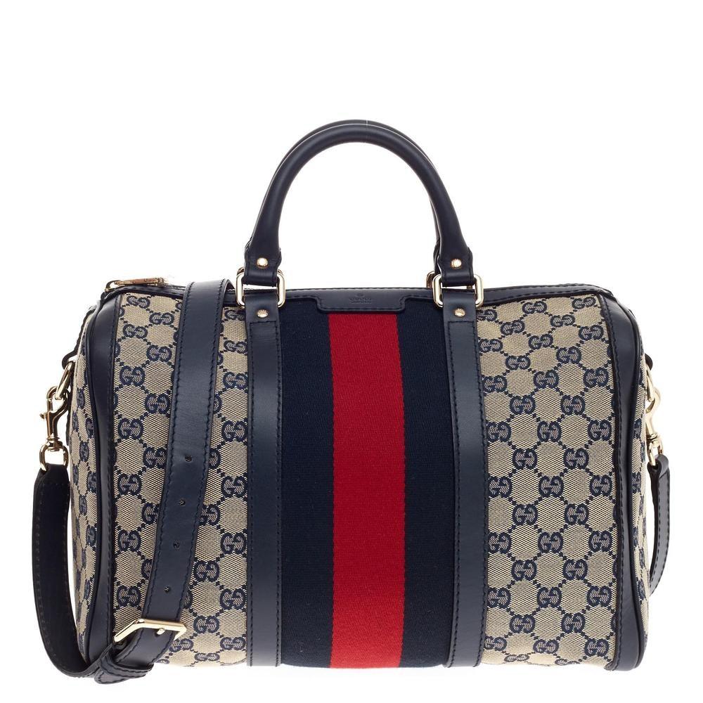 Gucci Boston Bag Vintage Web GG Web Stripes Medium Blue/Red