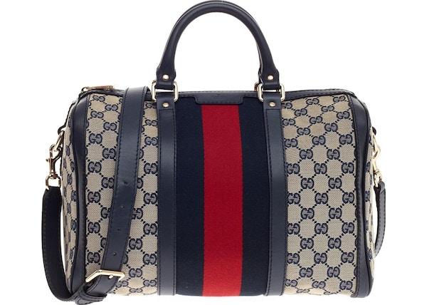 08229ca343c05 Gucci Boston Bag Vintage Web GG Web Stripes Medium Blue Red