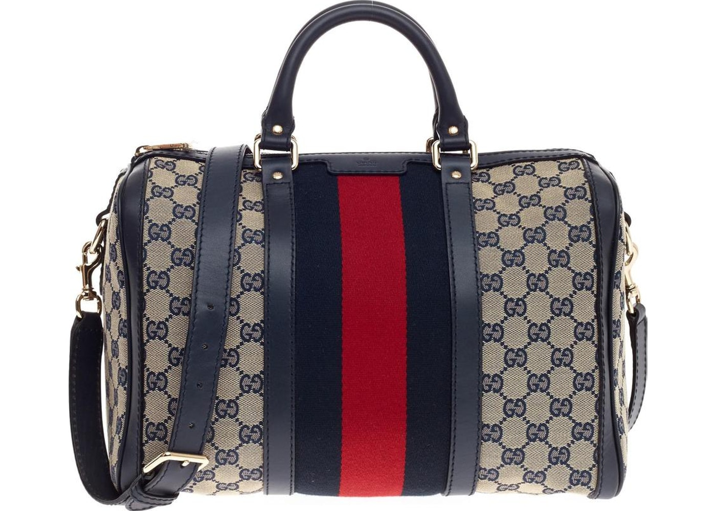 41d5379dd41c Gucci Boston Bag Vintage Web GG Web Stripes Medium Blue Red. GG Web Stripes  Medium Blue Red