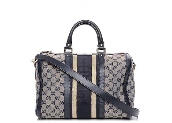 d4c5559a18d Gucci Vintage Web Boston Bag Vintage Web GG Web Stripes Medium Blue Beige  Navy