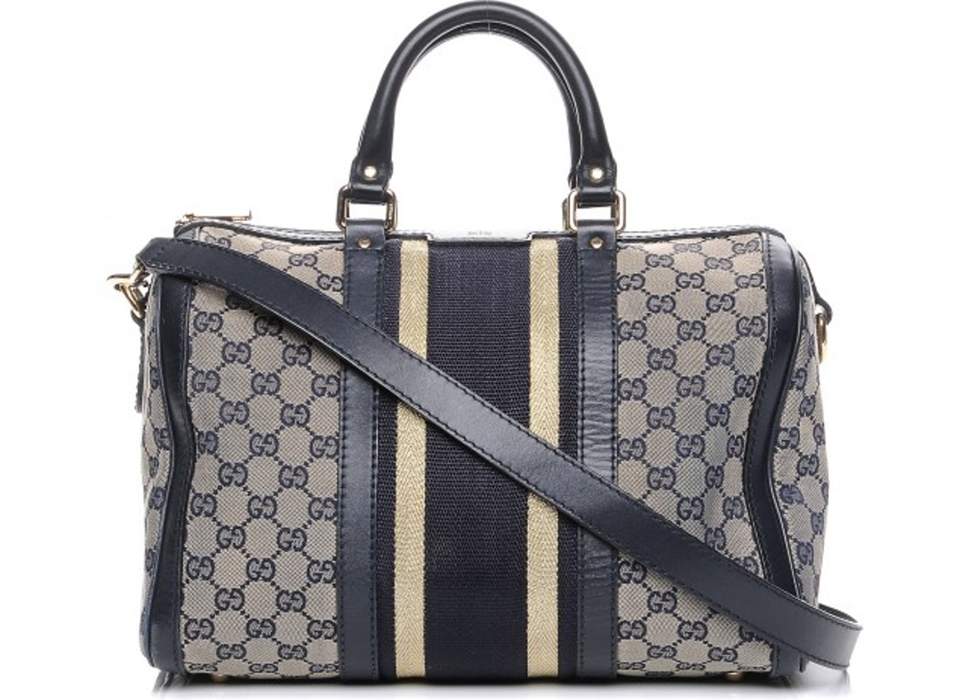 c6236585c5e572 Gucci Vintage Web Boston Bag Vintage Web GG Web Stripes Medium ...