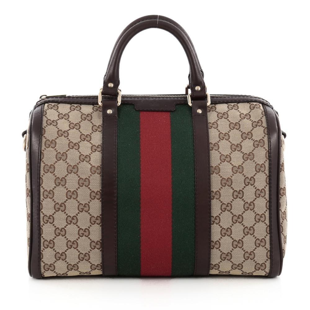 Gucci Boston Bag Vintage Web GG Web Stripes Medium Brown/Green/Red