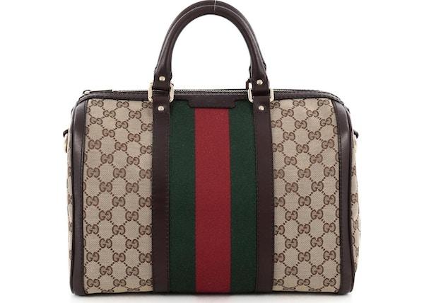 868055fbf41 Gucci Boston Bag Vintage Web GG Web Stripes Medium Brown Green Red