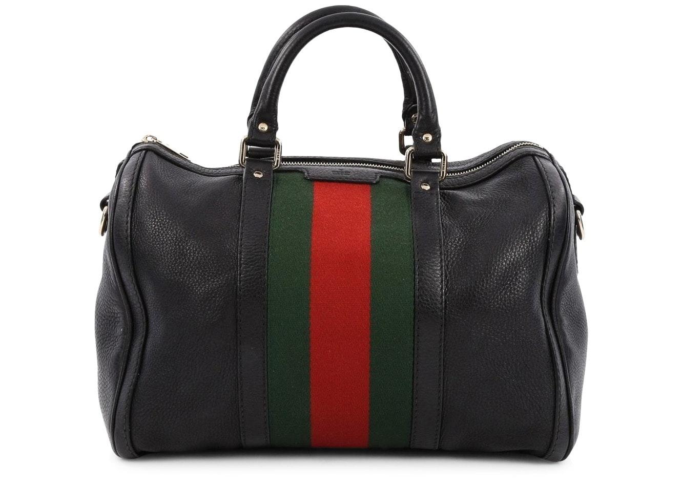 Gucci Vintage Web Boston Bag Satchel Medium Black