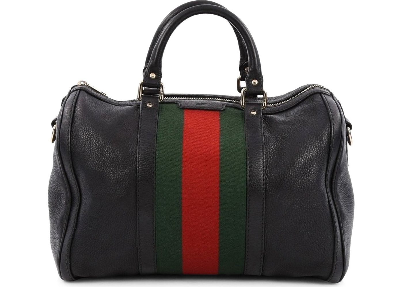 0b94482970a Gucci Vintage Web Boston Bag Satchel Medium Black