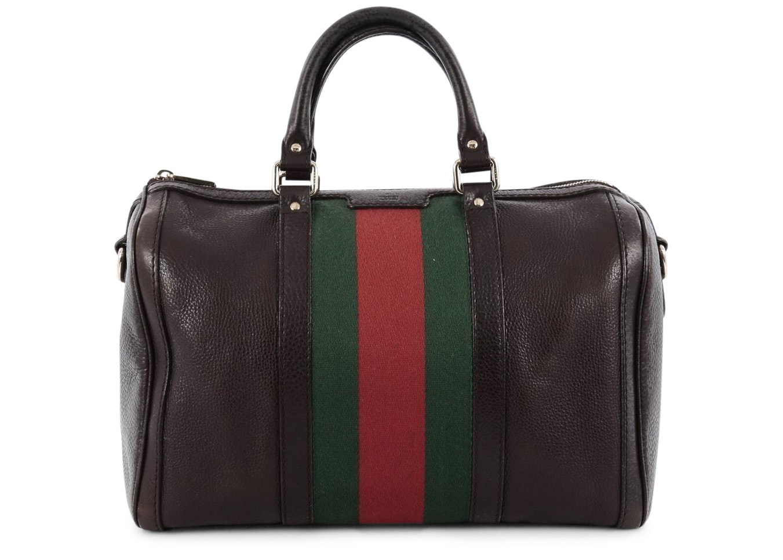 Gucci Vintage Web Boston Bag Satchel Medium Brown