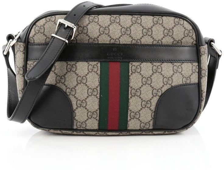 Gucci Vintage Web Camera Bag Crossbody GG Supreme Medium Brown