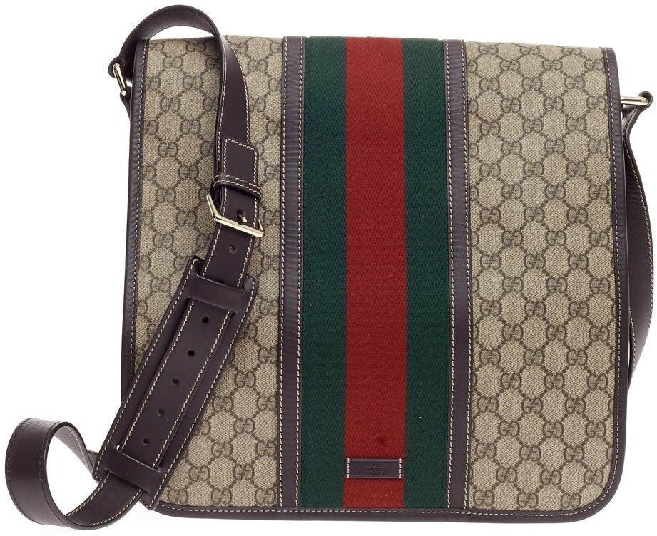 Gucci Vintage Web Flap Messenger GG Supreme Large Brown
