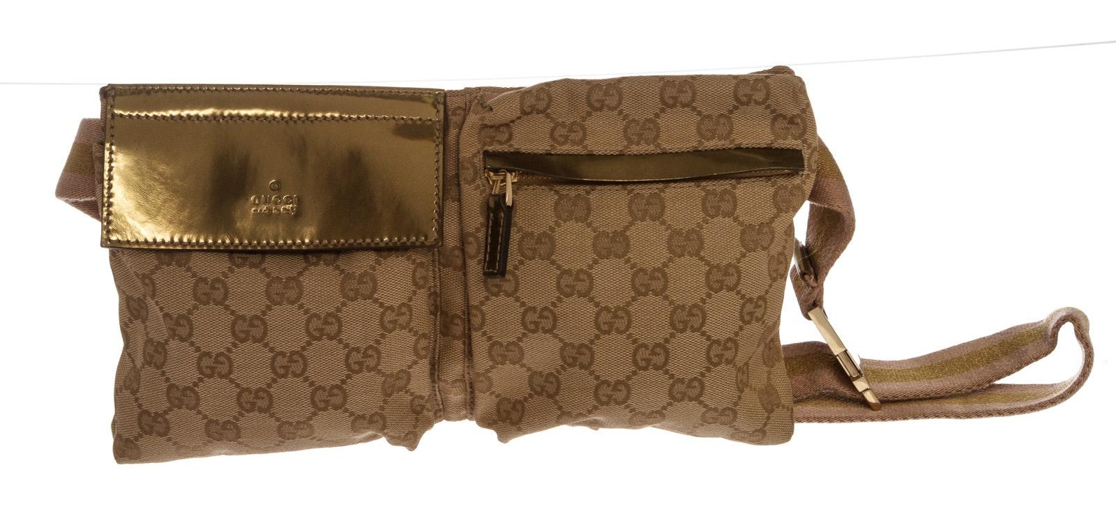 Gucci Flap Waist Bag GG Monogram Beige/Gold