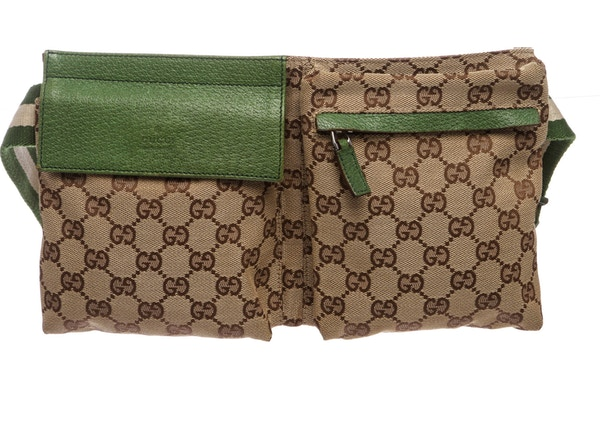 8865a06f472 Gucci Flap Waist Bag GG Monogram Adjustable Belt Strap Brown Green Beige