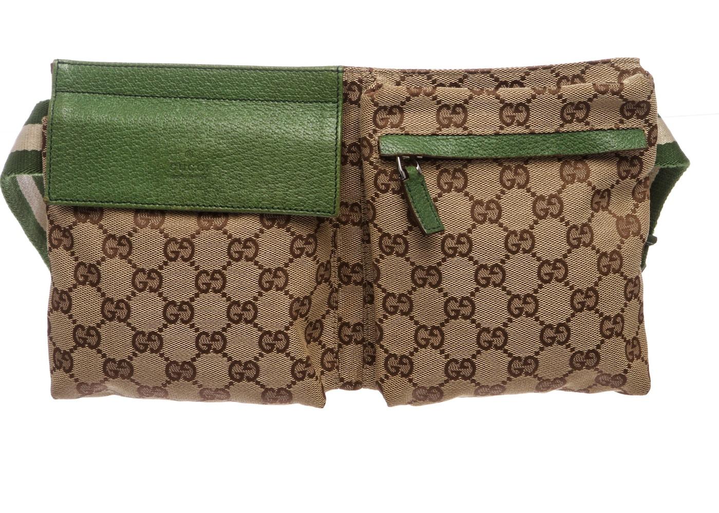 67e219a5d3c1 Gucci Flap Waist Bag GG Monogram Adjustable Belt Strap Brown ...