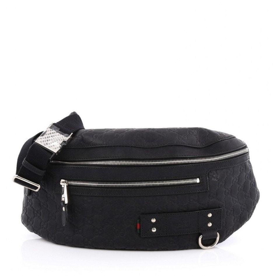 Gucci Waist Bag Guccissima Rubber Large Black