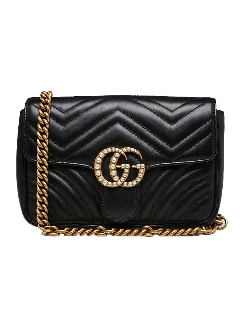Gucci Marmont Waist Belt Bag Embellished Matelasse Black