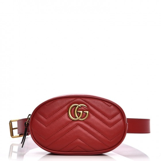 Gucci Waist Pouch Metalesse GG Marmont 95 Hibiscus Red