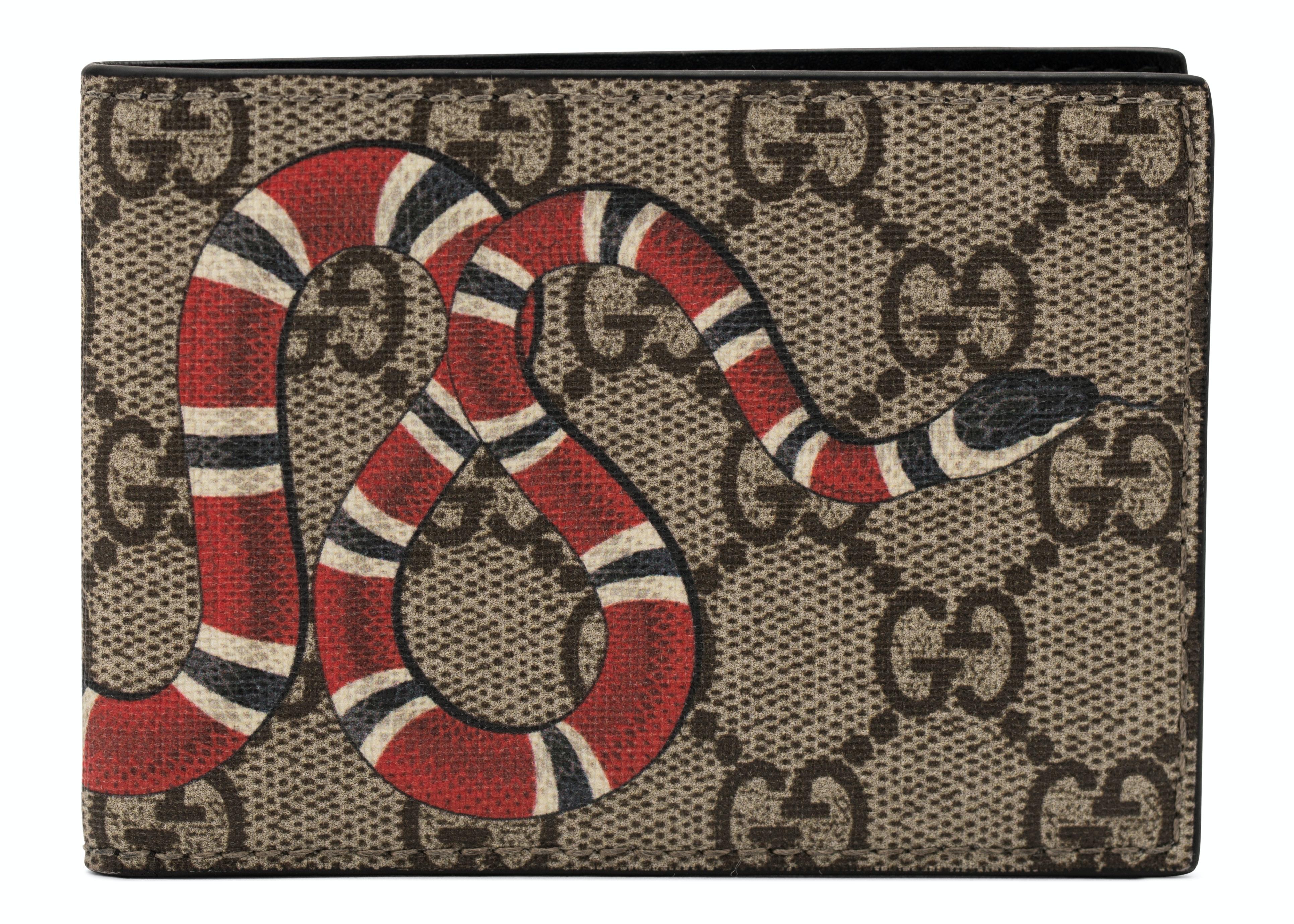 Gucci Bifold Wallet Monogram GG Supreme Kingsnake (4 Card Slots) Beige