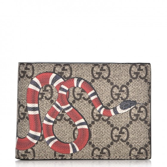 Gucci Bifold Wallet Monogram GG Supreme King Snake Beige