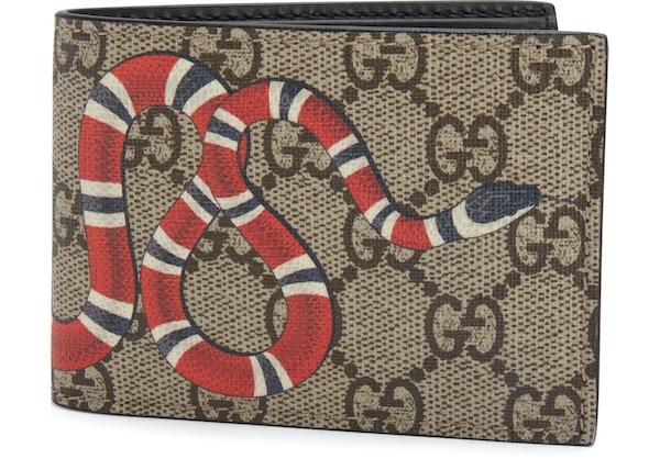 a4fa8b84308f Gucci Bifold Wallet GG Supreme Kingsnake (4 Card Slots) Beige