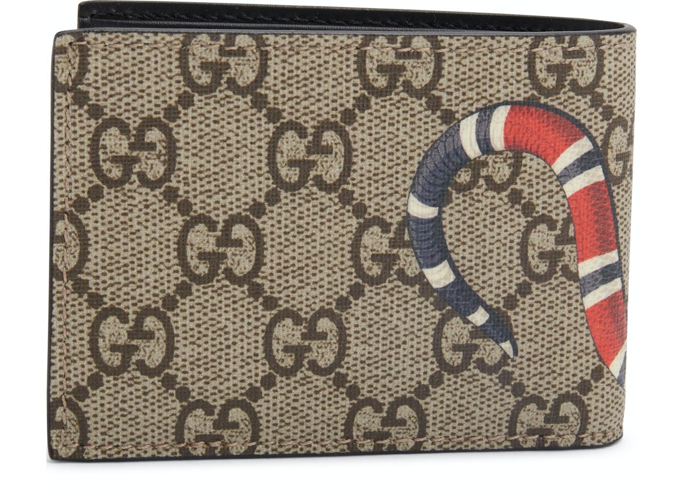 6618422bab28 Gucci Bifold Wallet GG Supreme Kingsnake (4 Card Slots) Beige