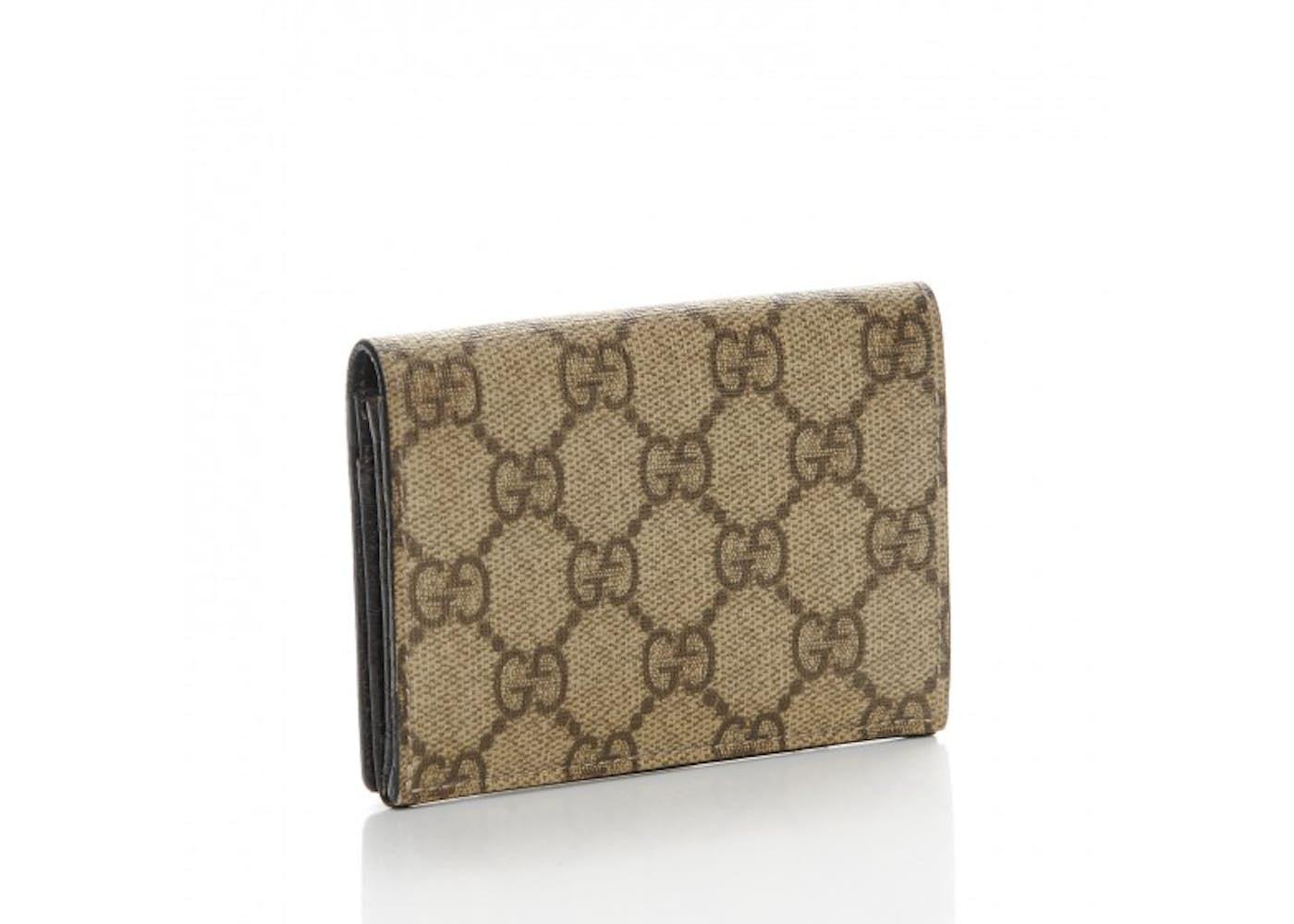 Leather business card holder monogram arts arts gucci business card holder wallet monogram gg plus brown beige colourmoves
