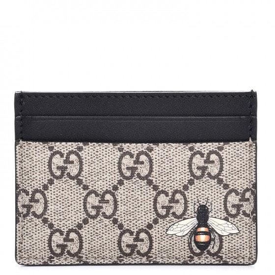 Gucci Card Case Wallet Monogram GG Bee Print Black/Beige
