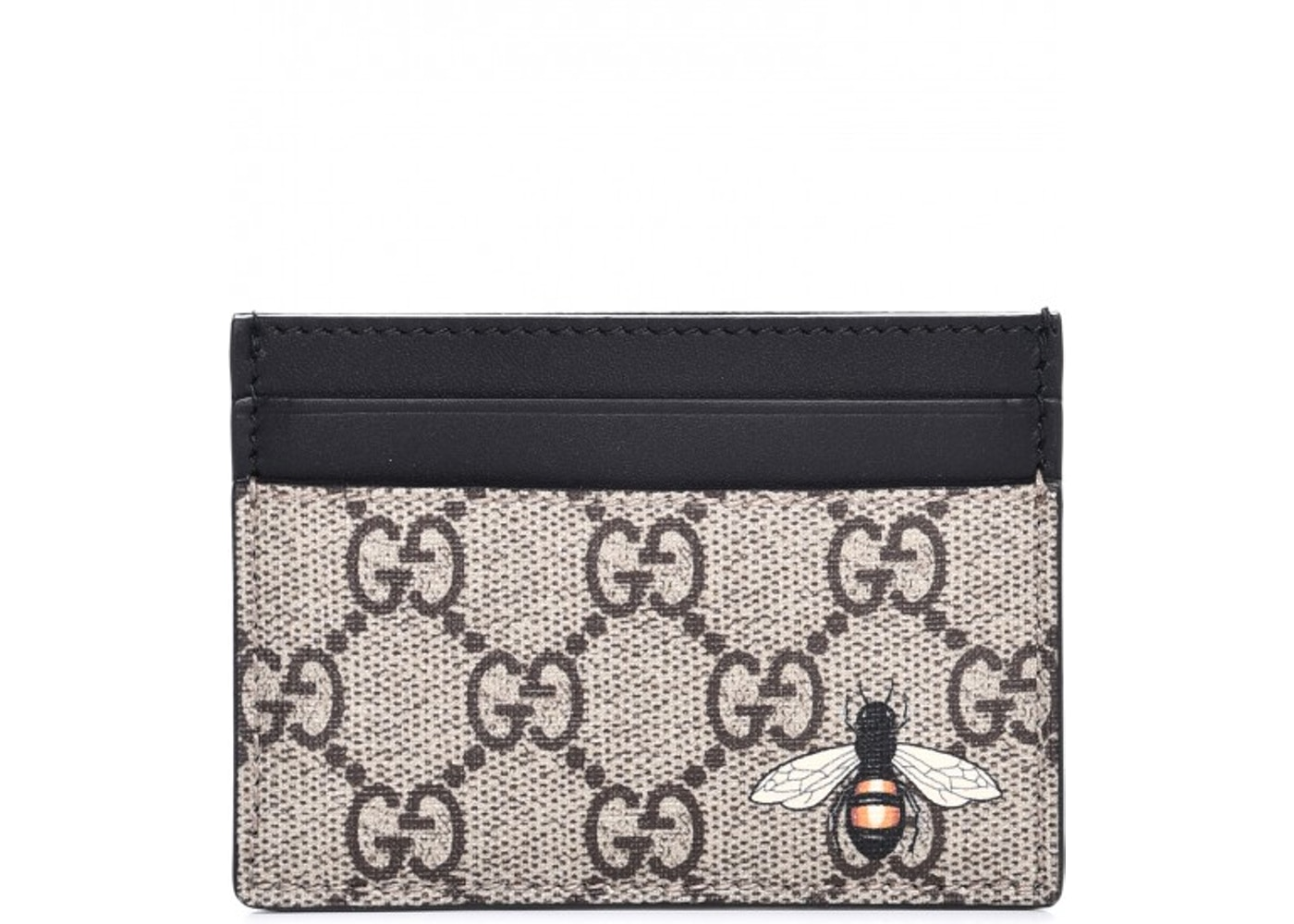 Gucci Card Case GG Supreme Bee Print Black Beige. GG Supreme Bee Print Black  Beige 2a8d6d3f309
